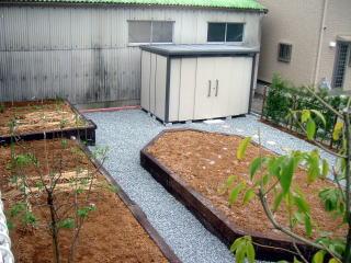 完成 さっそく苗を植えてみたようです^^ 畑の端には木も植えてあります。