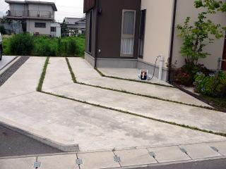 駐車場は土地境界ラインに併せて溝を切ってあり、その溝には竜の髭。