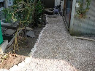 家横。こちらも同じく防草シートと砂利を敷き、玉石で境界を。