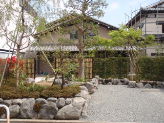 完成 今回の作庭では施主様のご希望により、「石が威張り過ぎない庭」が一つの課題でした。昔流行したような色の付いた大きい景石は使いたくないとのこと。大沢石を使い、あまり組み過ぎないように自然な石積みに仕上げました。