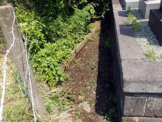 着手前 墓地横と裏は土間コンクリート仕上げ。