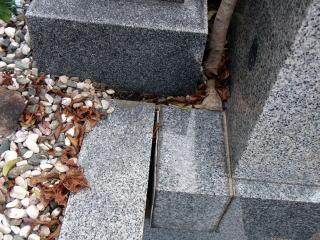 着手前 このモチの根は灯篭と腰石の間を占拠しており、あちこちの石を押してずらしてしまっていました。