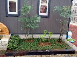完成  枕木を据えて土留めとし植栽を。土も入れ替えました。